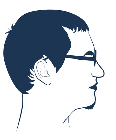 Portrait of a young man in profile in sunglasses, vector illustration Vector