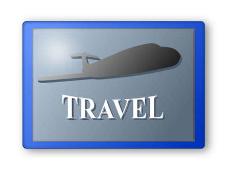 Tablet with the plane and the word travel Stock Photo