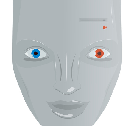 Cartoon cyborg face with red and blue eye, vector illustration Illustration