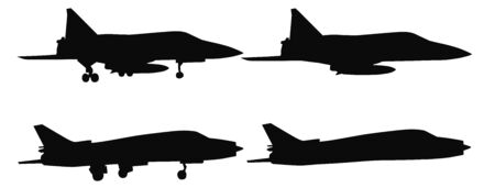 chassis: Set of silhouettes of aircraft chassis and without, vector illustration Illustration