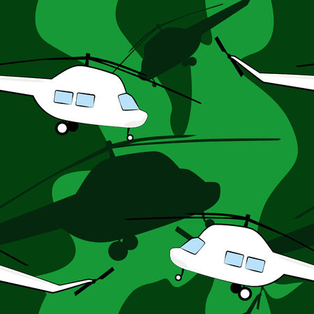 Green camouflage with white helicopters seamless vector background