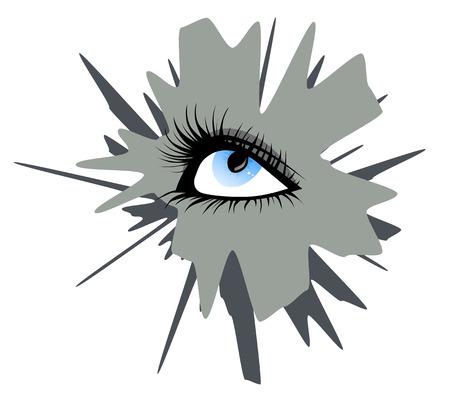 long eyelashes: Female blue eye with black long eyelashes on a background of gray blot