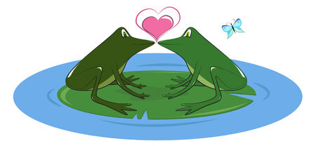 lily pad: Two lovers frogs on lily pad in a pond, vector illustration