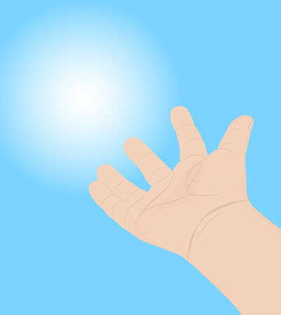reaches: Hand of a child on a blue background reaches to light