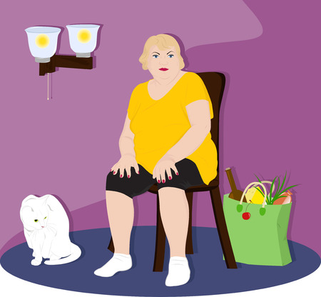 Fat woman resting after the store sitting on a chair in a room with white cat Vector