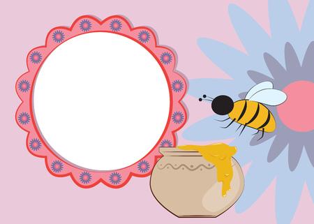 pot miel: Floral frame avec des abeilles et le miel pot, illustration vectorielle Illustration