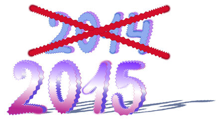strikethrough: Change the year from 2014 to 2015, vector illustration