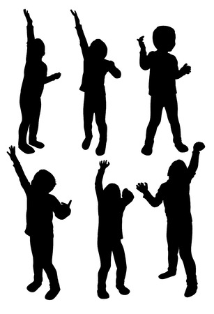 reaches: Set of children silhouettes in different poses, vector illustration Illustration
