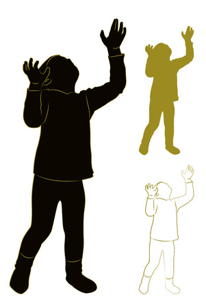 child looking up: Silhouette and contour of the child. Looking up raising his head. Vector illustration Illustration