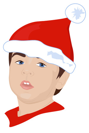 Portrait of young child dressed as a Christmas elf, vector illustration Vector