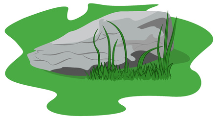 lying in: Big stone lying in the green grass, vector illustration