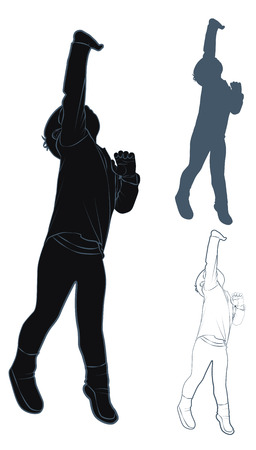 tiptoes: Silhouette and contour child standing on tiptoes, vector illustration Illustration