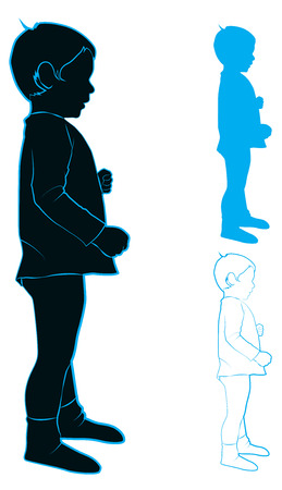 Blue silhouette and contour of a little boy standing in profile, vector illustration