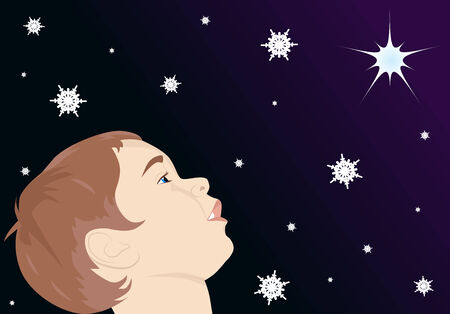 Little happy child on a background of the night sky with falling snowflakes looking at a bright star