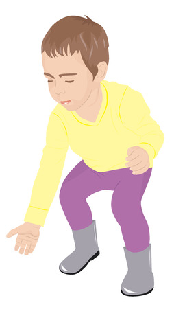 crouched: Little child crouched down to pick something up, vector illustration