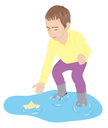 A child standing in a puddle playing with paper ship, vector illustration Vector