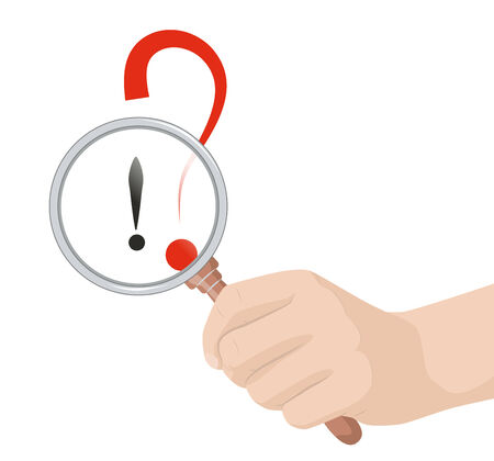 hand holding a magnifying glass over the exclamation point and question mark, vector illustration Vector