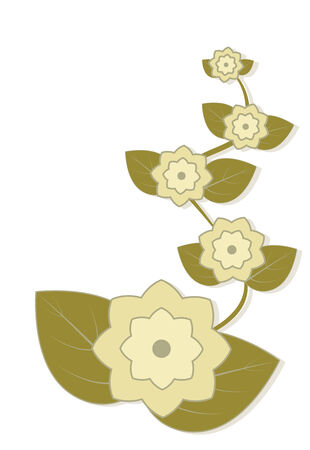 Light yellow abstract flowers and leaves, element for design, vector illustration