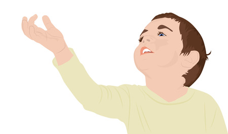 reaches: Portrait of a happy little boy reaches for something, vector illustration Illustration