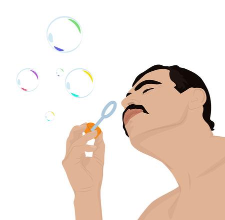 pleasure: Portrait of an adult man, who with pleasure blows soap bubbles, vector illustration