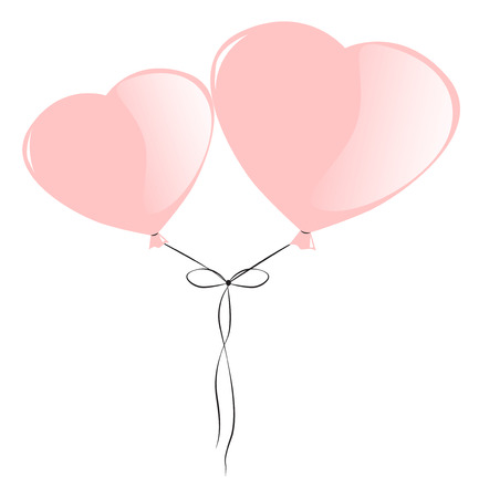 Two pink balloons in the shape of hearts on a string tied in a bow, vector illustration Illustration