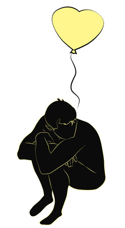 anguish: Silhouette of a sad man with a heart balloon, vector illustration