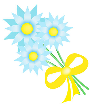 Bouquet of three blue flowers tied with a yellow ribbon, vector illustration Illustration