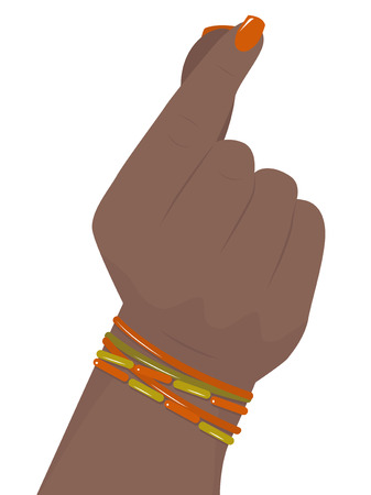 snaps: black woman hand with colorful bracelets snaps his fingers, vector illustration Illustration