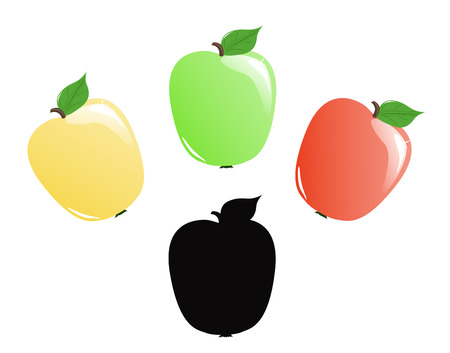 Set of three colorful apples and silhouette