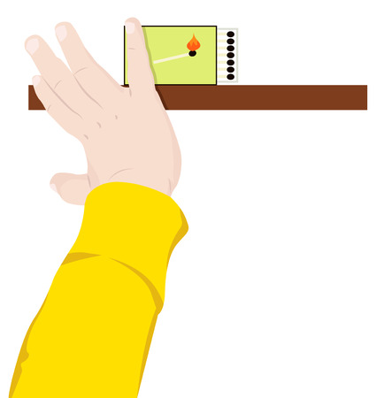 reaches: Childs hand reaches for matches, vector illustration Illustration