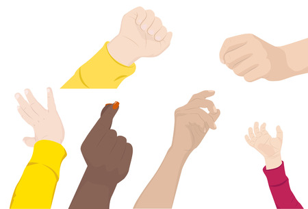 snaps: set of hands of children and adults, vector illustration