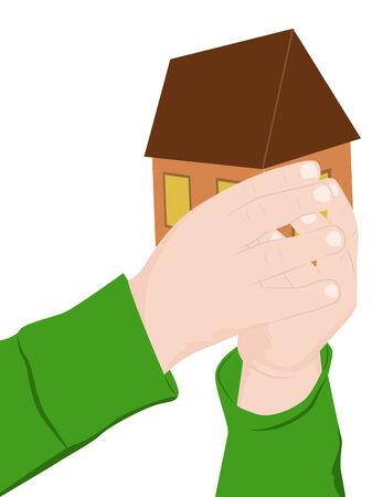 carefully: Child hands carefully hold house, vector illustration