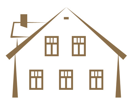 brown contour of a small house with a chimney, vector illustration Illustration