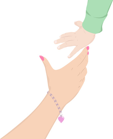 reaches: Mothers hand reaches for the hand of a child, vector illustration Illustration
