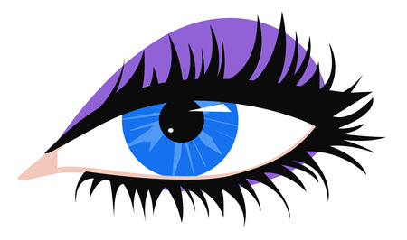 long eyelashes: Female blue eye with long black eyelashes and purple eyeshadow