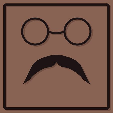 glasse: Black glasses and a mustache on a brown background in the style of flat