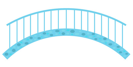 Blue stone bridge with railings, a simple vector illustration