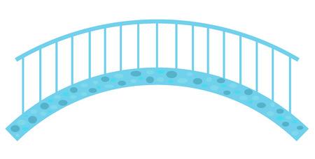 Blue stone bridge with railings, a simple vector illustration