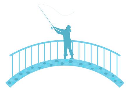 Fisherwoman on bridge throws a fishing rod, vector illustration Illustration