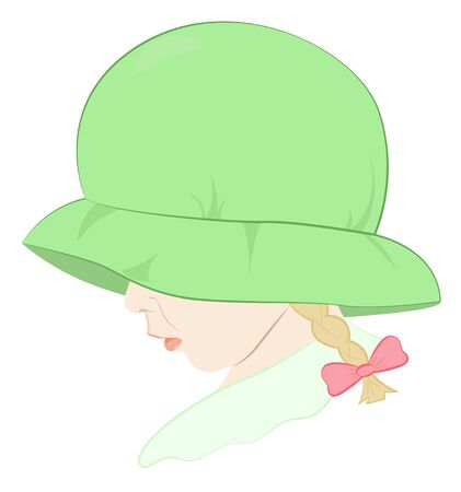 pigtails: Portrait of a little girl with pigtails in a green hat covering face, vector illustration