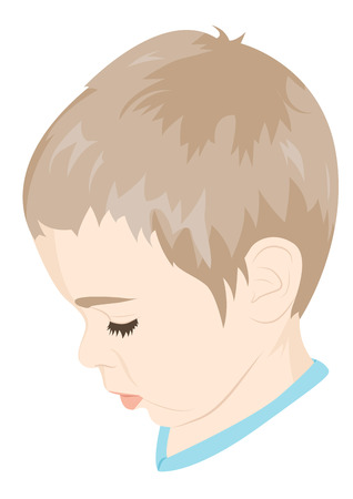 offended: Portrait of a littlel child in profile. Offended child. Vector illustration Illustration