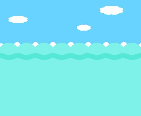 simple sky: Simple vector background, sea with waves and sky with clouds