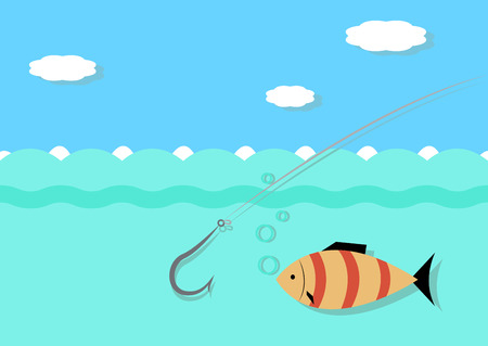 hooking: Fishing hook hooking fish, vector illustration in the style flat