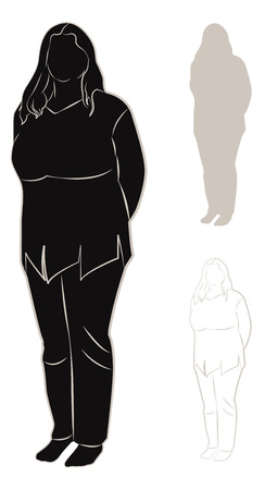 plump: Set of contours and silhouettes of plump woman. Vector illustration Illustration