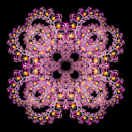 pink and black: Symmetrical abstract pink pattern on black background