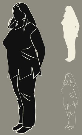 Set of contours and silhouettes of plump woman. Vector illustration Illustration