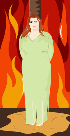 tied girl: Cute young witch in green dress tied to a post on the background of fire