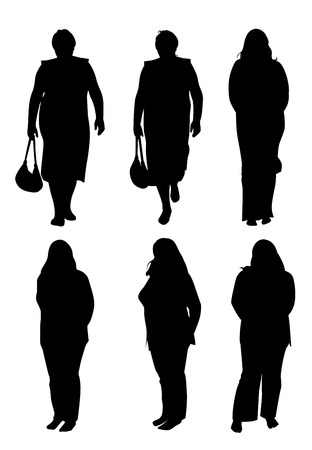 plump: Set of six plump women silhouettes in different poses. Vector illustration
