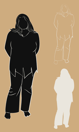 plump: Set of contours and silhouettes plump woman. Vector illustration