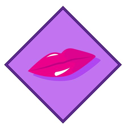 pink lips: Beautiful pink lips on a purple background. Vector illustration